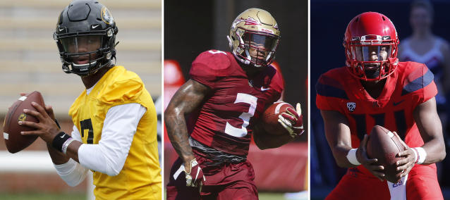 FILE - From left are file photos showing Missouri quarterback Kelly Bryant in 2019, Florida State running back Cam Akers in 2019 and Arizona quarterback Khalil Tate in 2018. The three could be considered among darkhorse contenders for the Heisman. (AP Photos/Files)