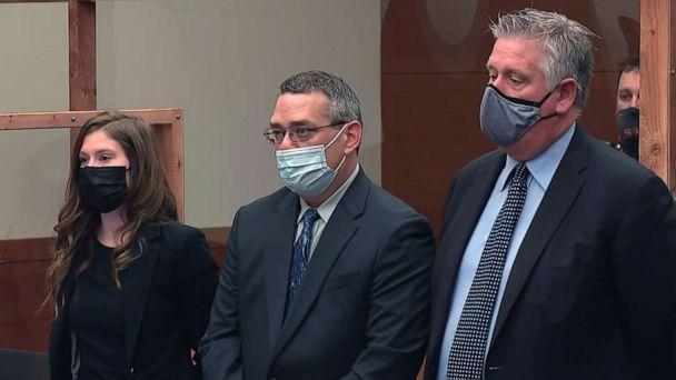 PHOTO: Fired Columbus police officer Adam Coy, center, appears in court, April 28, 2021, in connection with the shooting of Andre Hill in December 2020. (WSYX)