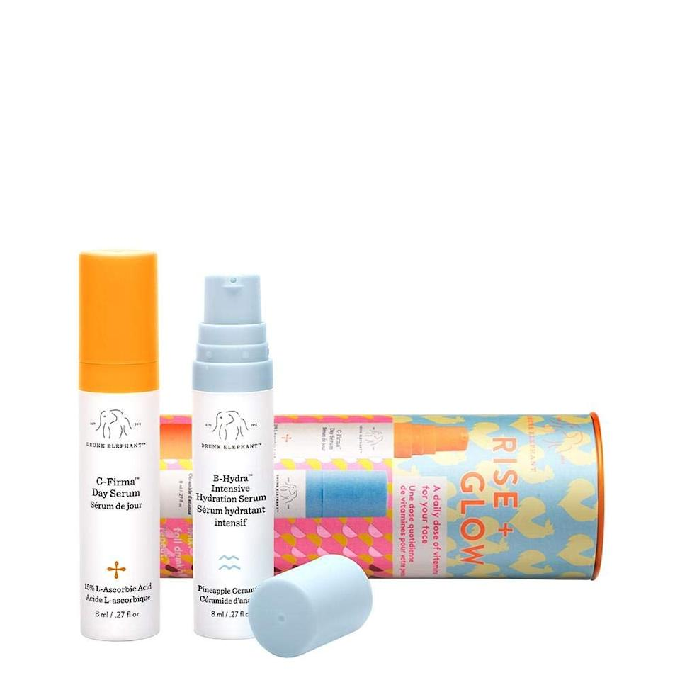 """<p>If you can't go anywhere without your favorite Drunk Elephant products, snag this <a href=""""https://www.popsugar.com/buy/Drunk%20Elephant%20Rise%20%2B%20Glow%20Duo%20Set-469514?p_name=Drunk%20Elephant%20Rise%20%2B%20Glow%20Duo%20Set&retailer=amazon.com&pid=469514&price=23&evar1=bella%3Aus&evar9=46445677&evar98=https%3A%2F%2Fwww.popsugar.com%2Fbeauty%2Fphoto-gallery%2F46445677%2Fimage%2F46445687%2FDrunk-Elephant-Rise-Glow-Duo-Morning-Skin-Care-Set&list1=shopping%2Ctravel%2Camazon%2Cbeauty%20products%2Cbeauty%20shopping&prop13=api&pdata=1"""" rel=""""nofollow"""" data-shoppable-link=""""1"""" target=""""_blank"""" class=""""ga-track"""" data-ga-category=""""Related"""" data-ga-label=""""https://www.amazon.com/Drunk-Elephant-Rise-Glow-Duo/dp/B06XTS713Q/ref=sr_1_33?keywords=mini%2Bbeauty%2Bproducts&amp;qid=1563410876&amp;s=gateway&amp;sr=8-33&amp;th=1"""" data-ga-action=""""In-Line Links"""">Drunk Elephant Rise + Glow Duo Set</a> ($23).</p>"""