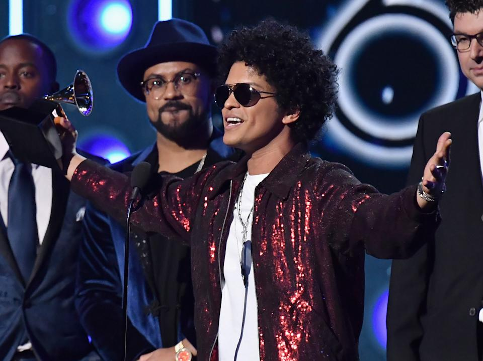 Producer Philip Lawrence and Bruno Mars accept the award for Album of the Year during the 60th Annual Grammy Awards on January 28, 2018  (Photo by Jeff Kravitz/FilmMagic)