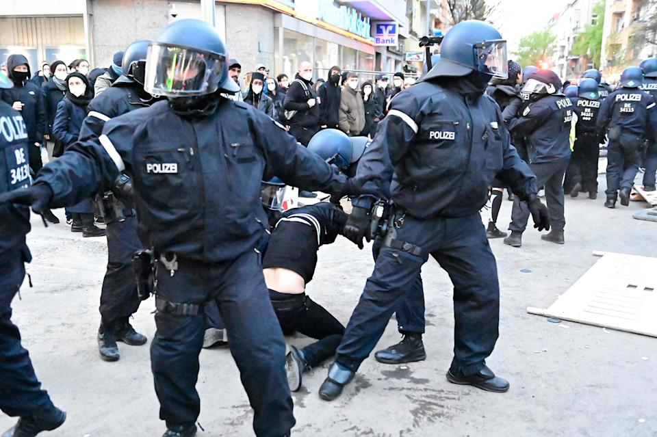 <p>Police detain protesters during the so-called