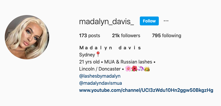 Madalyn Davis had a large following on social media, her personal Instagram account with 21,000 followers has been switched to private. Source: Instagram