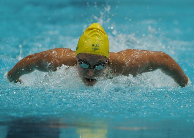 Australian swimmer Blair Evans competes during a heat for the women's 400 metre individual medley event for The Commonwealth Games at the S.P. Mukherjee Aquatics Centre in New Delhi on October 9, 2010. The Commonwealth Games are taking place in the Indian capital from October 3-14. AFP PHOTO / INDRANIL MUKHERJEE (Photo credit should read INDRANIL MUKHERJEE/AFP/Getty Images)