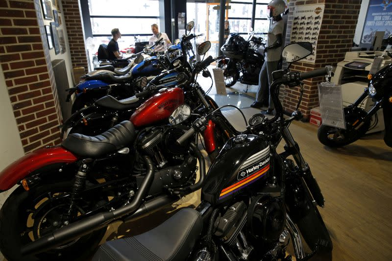 FILE PHOTO: The logo of U.S. motorcycle company Harley-Davidson is seen on one of their models at a shop in Paris