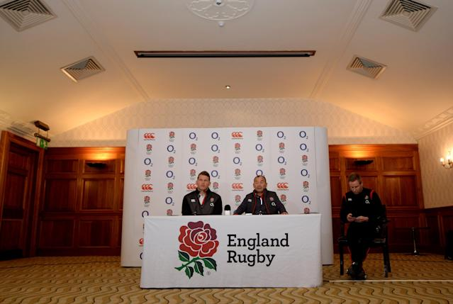 Soccer Football - England Press Conference - Pennyhill Park, Bagshot, Britain - March 15, 2018 England head coach Eddie Jones and Dylan Hartley during the press conference Action Images via Reuters/Adam Holt