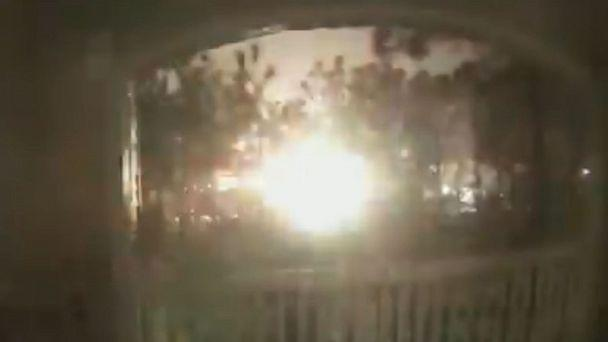 PHOTO: An explosion in a Houston manufacturing plant is seen in this video still frame from a home security camera down the street from the business. (Joey Charpentier/Twitter)