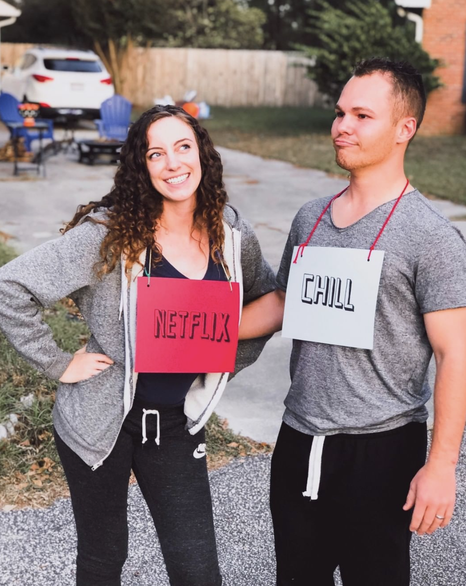<p>Get punny this Halloween and make DIY #NextlixAndChill costumes. Sweats and signs, life doesn't get much simpler than that.</p>