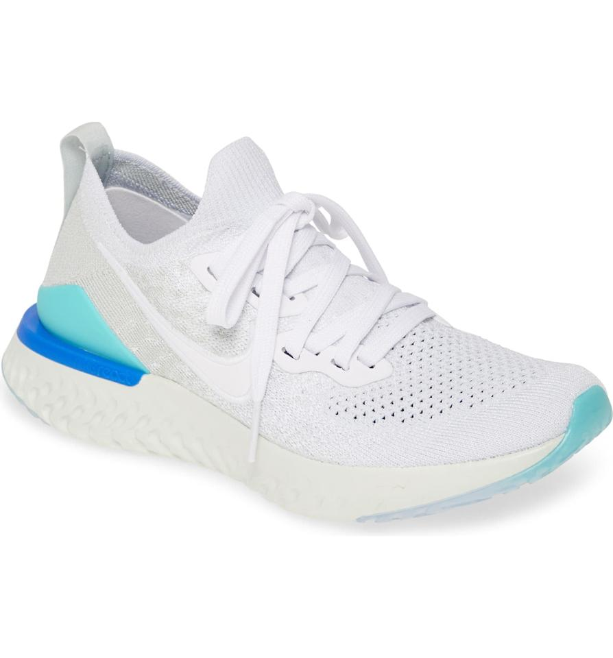 """<p>This supportive and comfy <a href=""""https://www.popsugar.com/buy/Nike-Epic-React-Flyknit-2-Running-Shoe-491898?p_name=Nike%20Epic%20React%20Flyknit%202%20Running%20Shoe&retailer=shop.nordstrom.com&pid=491898&price=150&evar1=fit%3Aus&evar9=45652306&evar98=https%3A%2F%2Fwww.popsugar.com%2Ffitness%2Fphoto-gallery%2F45652306%2Fimage%2F46638068%2FNike-Epic-React-Flyknit-2-Running-Shoe&list1=shoes%2Csneakers%2Crunning%20shoes%2Cfitness%20gear%2Cfitness%20shopping&prop13=mobile&pdata=1"""" rel=""""nofollow"""" data-shoppable-link=""""1"""" target=""""_blank"""" class=""""ga-track"""" data-ga-category=""""Related"""" data-ga-label=""""https://shop.nordstrom.com/s/nike-epic-react-flyknit-2-running-shoe-women/5391787?origin=coordinating-5391787-0-1-PDP_1_SH_GV-recbot-cloud_vision_visually_similar&amp;recs_placement=PDP_1_SH_GV&amp;recs_strategy=cloud_vision_visually_similar&amp;recs_source=recbot&amp;recs_page_type=product&amp;recs_seed=5031535"""" data-ga-action=""""In-Line Links"""">Nike Epic React Flyknit 2 Running Shoe</a> ($150) comes in so many fun colors.</p>"""