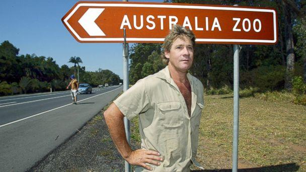 PHOTO: In this file photo, 'Crocodile Hunter' Steve Irwin stands by the Australia Zoo sign at Beerwah on the Sunshine Coast, Sept. 26, 2003. (Newspix via Getty Images, FILE)