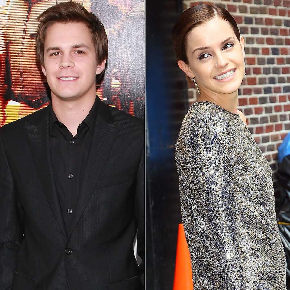 """Though she won't officially admit to a romance, 21-year-old British actress Emma Watson was snapped smooching her """"Perks of Being a Wallflower"""" co-star Johnny Simmons last month on the streets of Santa Monica, California. A few weeks later the duo was spotted shopping together in Paris. This one just might last since a guy who spends the afternoon following his girlfriend from store to store is clearly in love. David Livingston/Getty Images, Jeffrey Ufberg/WireImage.com"""