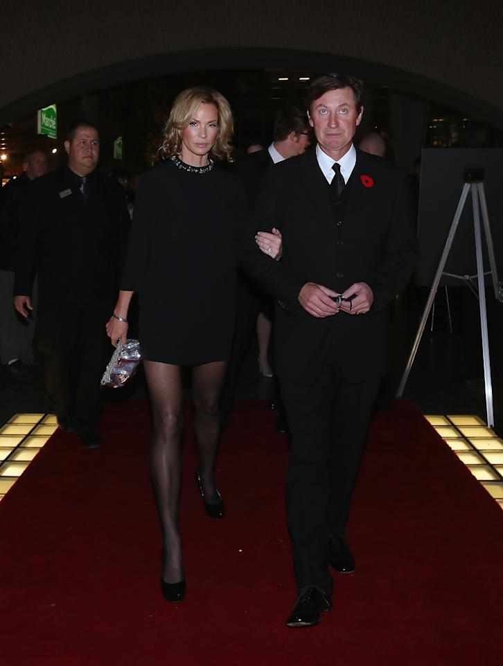TORONTO, ON - NOVEMBER 11: Janet Jones Gretzky and Wayne Gretzky walk the red carpet prior to the 2013 Hockey Hall of Fame induction ceremony on November 11, 2013 in Toronto, Canada. (Photo by Bruce Bennett/Getty Images)