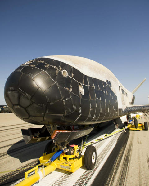 The Boeing-built X-37B autonomously landed at Vandenberg Air Force Base in California on June 16, 2012 after a successful 469-day mission.