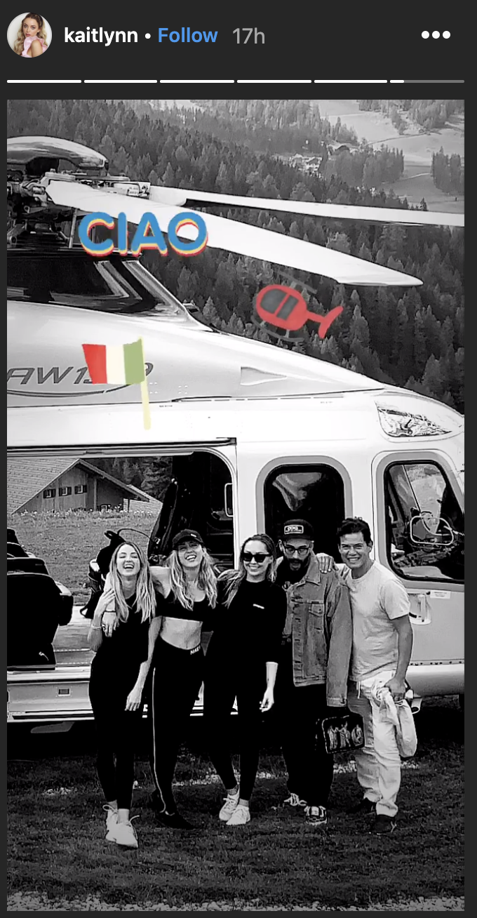 Kaitlynn Carter's Italian adventures with Cyrus continue. They are joined by Cyrus's sister Brandi and some other friends. (Screenshot: Kaitlynn Carter via Instagram)