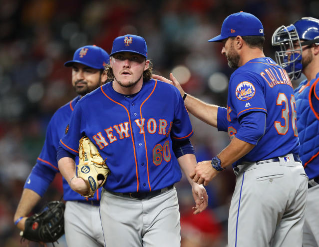 "<a class=""link rapid-noclick-resp"" href=""/mlb/teams/nym"" data-ylk=""slk:Mets"">Mets</a> starter PJ Conlon tweeted the perfect response to being traded back-and-forth with the <a class=""link rapid-noclick-resp"" href=""/mlb/teams/lad"" data-ylk=""slk:Dodgers"">Dodgers</a>. (AP)"