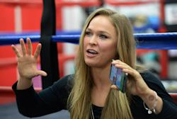 Ronda Rousey talks to the media. (USAT)