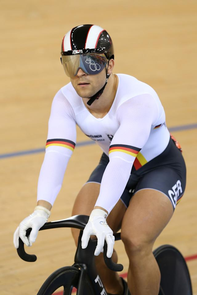 LONDON, ENGLAND - AUGUST 04:  Robert Forstemann of Germany after beating Bernard Esterhuizen of South Africa during the Men's Sprint Track Cycling 1/16 Finals on Day 8 of the London 2012 Olympic Games at Velodrome on August 4, 2012 in London, England.  (Photo by Quinn Rooney/Getty Images)