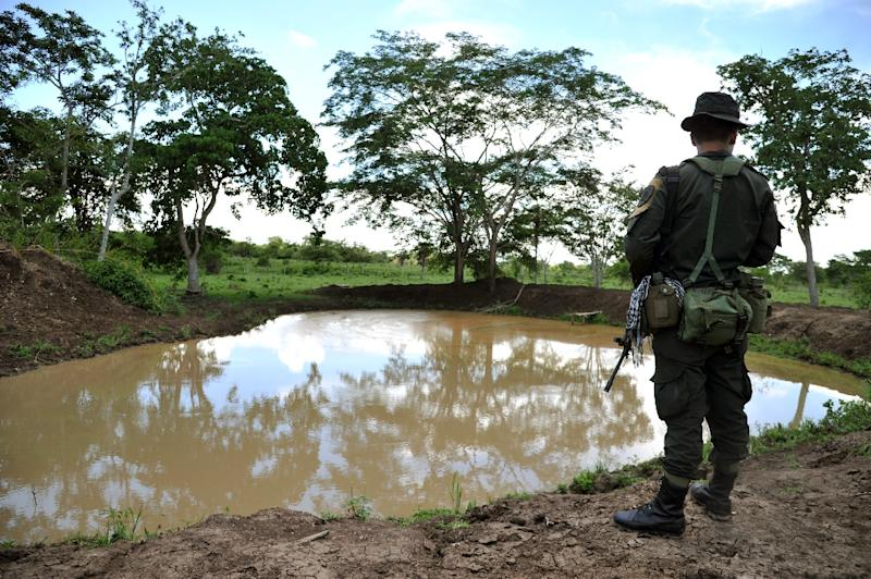 A police officer stands guard during a government land restitution process for farmers, near the town of Chibolo on August 28, 2014