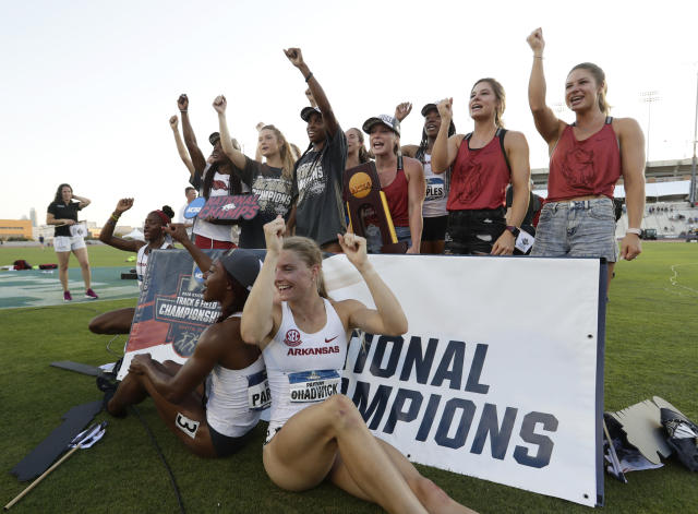 Best sports: women's indoor and outdoor track & field (national champions). Trajectory: steady. The Razorbacks have been between 16th and 23rd every year in the five-year period, admirable consistency built on a track & field foundation (moreso the women at the moment). The Hogs also scored well in baseball and women's golf. The glam sports, football and men's basketball, are not pulling their weight.
