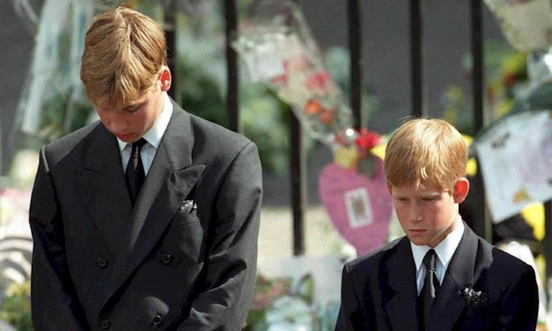 Princes William and Harry at the funeral of their mother, Diana