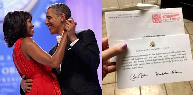 A couple invited former President Obama and former first lady Michelle Obama to their wedding and received a lovely response. (Photo: Getty Images,Twitter/96_brooke)