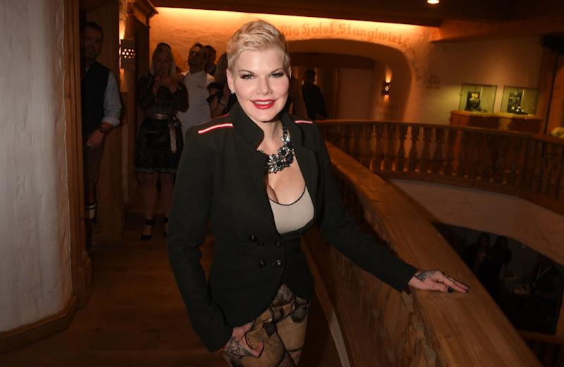 24 January 2020, Austria, Going am Wilden Kaiser: TV actress Melanie Müller celebrates at the WeiÃwurstparty at the Stanglwirt, one day before the legendary Hahnenkamm Race. The events surrounding the Streif are among the most important celebrity events of the year in Austria. Photo: Felix Hörhager/dpa (Photo by Felix Hörhager/picture alliance via Getty Images)