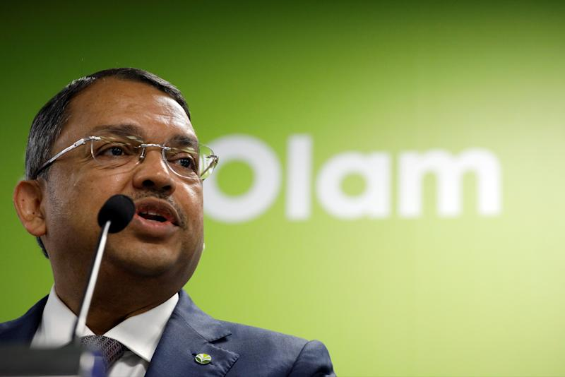 Olam's co-founder and Group Chief Executive Officer Sunny Verghese speaks during an earnings announcement in Singapore August 14, 2017. REUTERS/Edgar Su