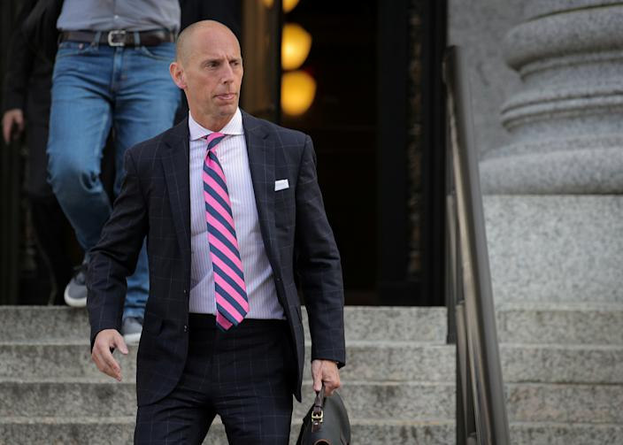 Marc Mukasey, a lawyer for U.S. President Donald Trump, exits the Manhattan Federal Courthouse, following a ruling by a judge to allow Deutsche Bank AG and Capital One Financial Corp to provide financial records to investigators, in New York City, U.S., May 22, 2019. (Photo: Brendan McDermid/Reuters)