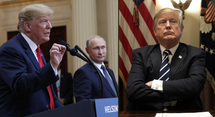 After a joint news conference, left, with Vladimir Putin in Helsinki on July 16, 2018, President Trump heard from members of Congress at a meeting, right, in the White House on July 17. (Photos: Pablo Martinez Monsivais, Yuri Gripas/Bloomberg via Getty Images)