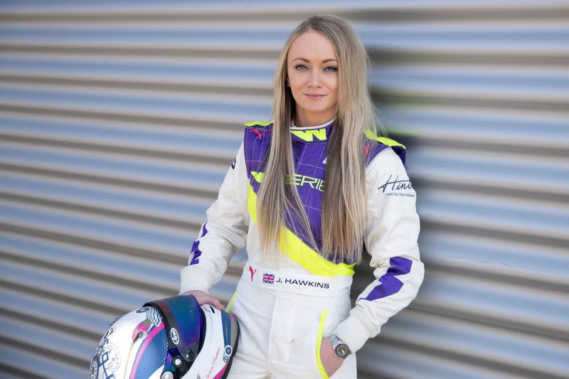FILE PHOTO: Jessica Hawkins poses during a media day ahead of the inaugural season of the women-only racing series 'W Series' at the Lausitzring in Schipkau