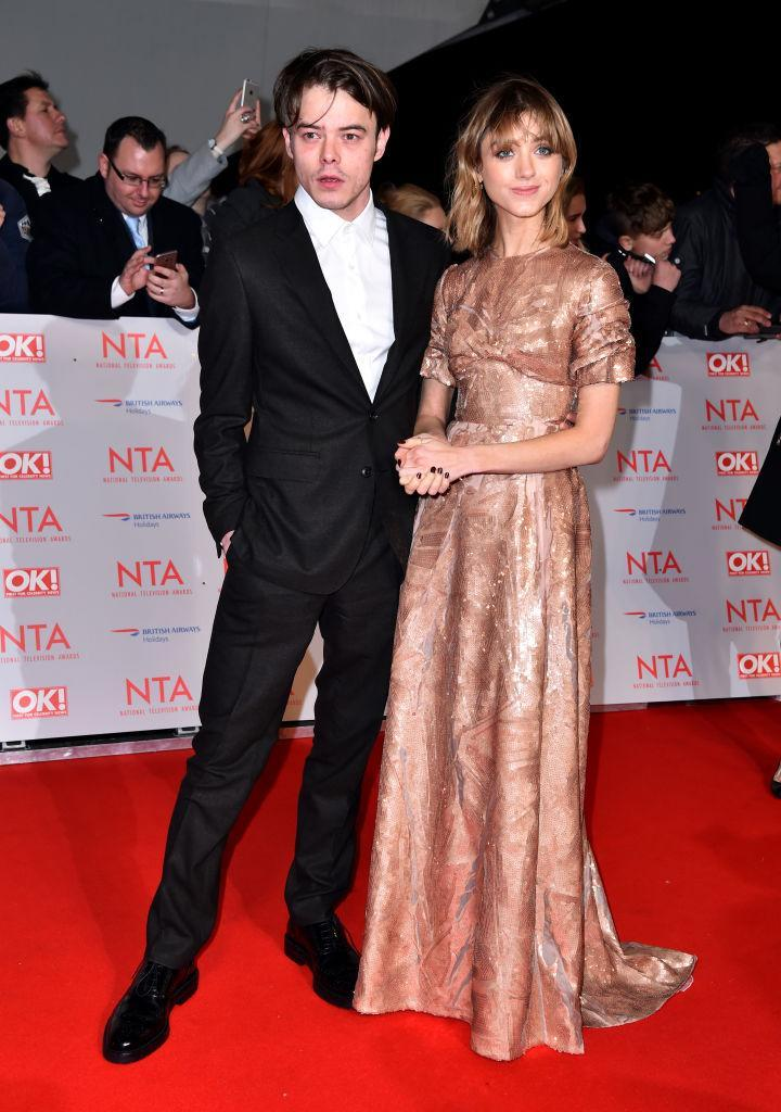 <p>'Stranger Things' stars Natalia Dyer and Charlie Heaton made an unanticipated appearance at this year's National Television Awards and gave us major #CoupleGoals. <em>[Photo: Getty]</em> </p>