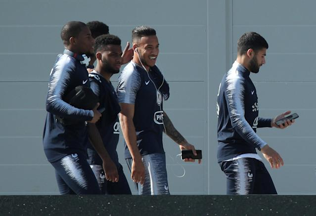 Soccer Football - World Cup - France Training - France Training Camp, Moscow, Russia - June 18, 2018 France's Thomas Lemar and Corentin Tolisso with team mates during training REUTERS/Albert Gea