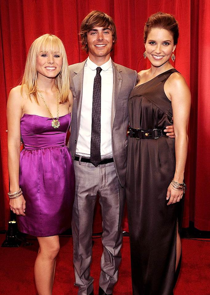 "Who's prettier? Kristen Bell, Zach Efron, or Sophia Bush? Kevin Mazur/<a href=""http://www.wireimage.com"" target=""new"">WireImage.com</a> - July 16, 2008"