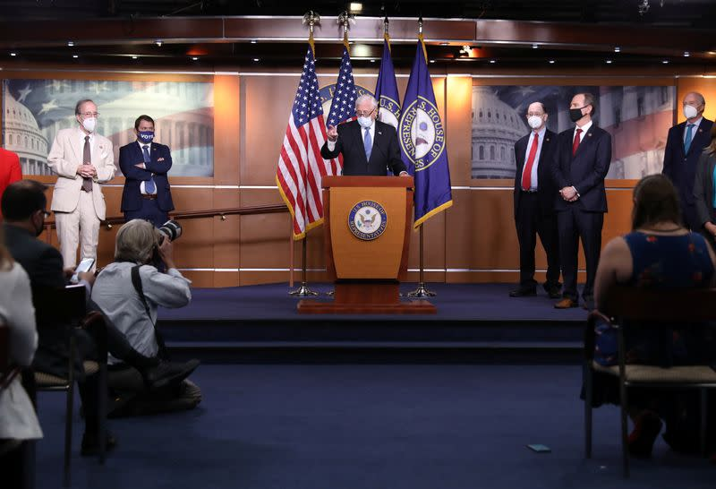 House Democrats discuss White House briefing on reports Russia paid Taliban to kill U.S. troops during news conference at the U.S. Capitol in Washington