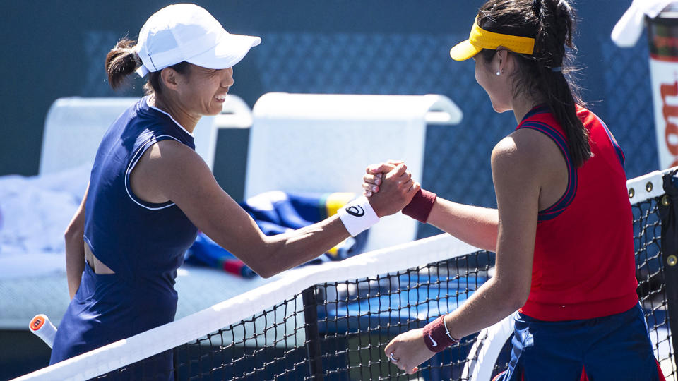 Emma Raducanu and Zhang Shuai, pictured here after their second-round match at the US Open.