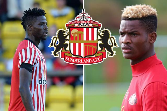 Sunderland are considering suing Papy Djilobodji (left) and Didier Ndong (right)