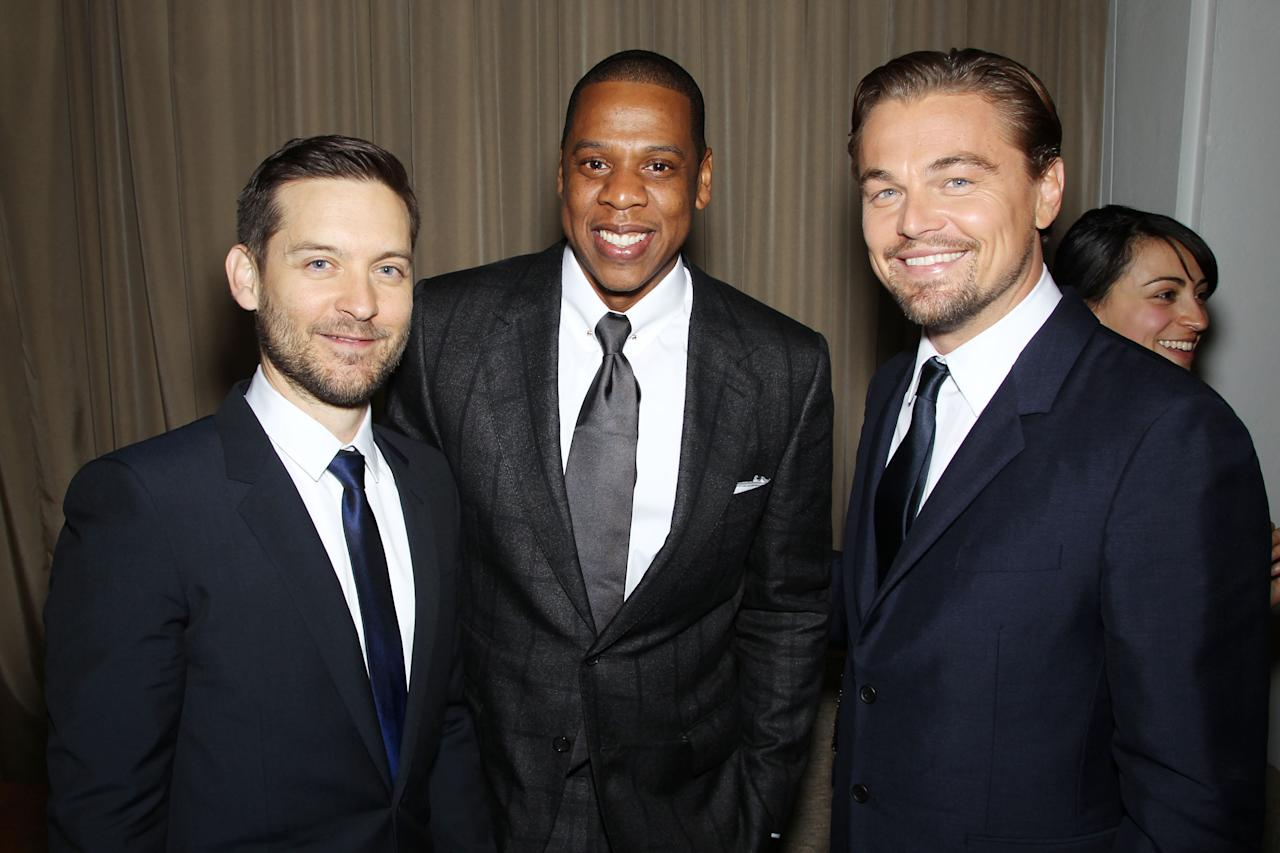 -New York, NY - 05/01/13 -  World Premiere of ?The Great Gatsby?. Starring Leonardo DiCaprio, Tobey Maguire, Carey Mulligan, Joel Edgerton, Isla Fisher, Amitabh Bachchan and director/writer/producer Baz Luhrmann-PICTURED: Tobey Maguire, Jay-Z, Leonardo DiCaprio-PHOTO by: Marion Curtis/Startraksphoto.com-Filename: MC705818.JPG-Location: Avery Fisher Hall at Lincoln CenterEditorial - Rights Managed Image - Please contact www.startraksphoto.com for licensing feeStartraks Photo New York, NY For licensing please call 212-414-9464 or email sales@startraksphoto.com