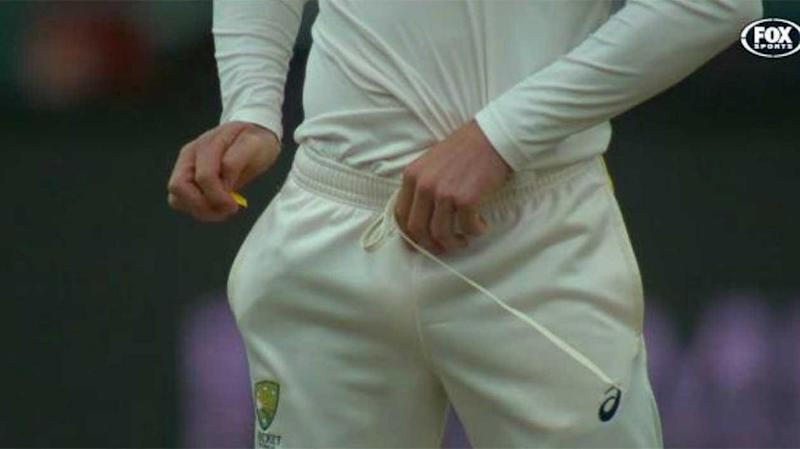 Cameron Bancroft was caught by cameras rubbing a yellow substance on the cricket ball in the Test against South Africa. Source: Fox Sports