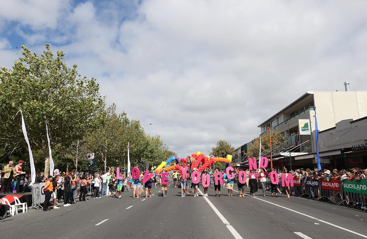 AUCKLAND, NEW ZEALAND - FEBRUARY 16:  A float moves down Ponsonby Road during the Pride parade on February 16, 2013 in Auckland, New Zealand. The gay parade, celebrating lesbian, gay, bisexual and transgender (LGBT) culture has returned to Ponsonby Road after 10 years and organisers plan to put the parade on the tourism map, in the style of the Sydney Mardi Gras.  (Photo by Sandra Mu/Getty Images)