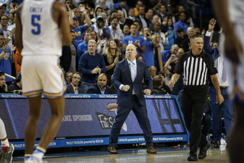 UCLA head coach Mick Cronin reacts during an NCAA college basketball game against Arizona State Thursday, Feb. 27, 2020, in Los Angeles. (AP Photo/Ringo H.W. Chiu)
