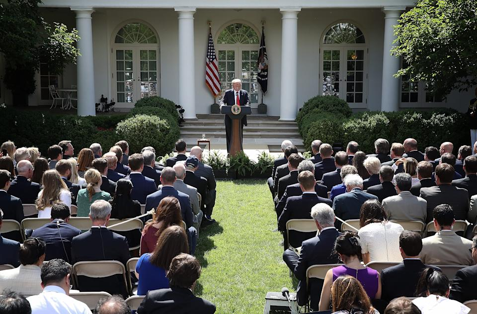 President Donald Trump announces that the United States will pull out of the Paris climate agreement,  June 1, 2017. The agreement was intended to encourage the reduction of greenhouse gas emissions in an effort to limit global warming.