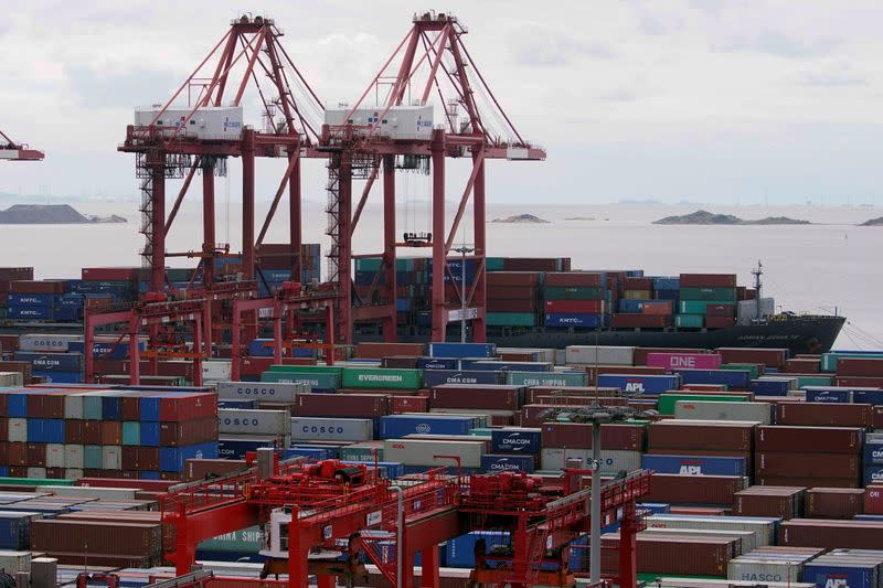 FILE PHOTO: Containers are seen at the Yangshan Deep-Water Port in Shanghai