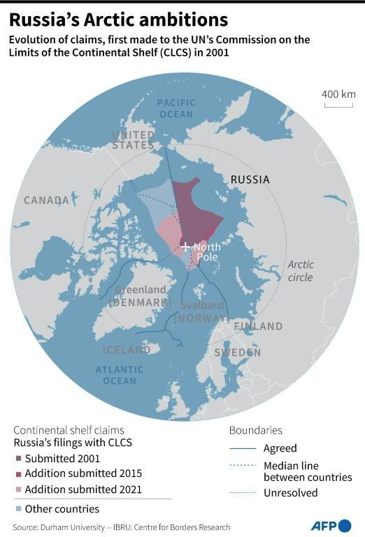 Map detailing Russia's territorial claims in the Arctic.