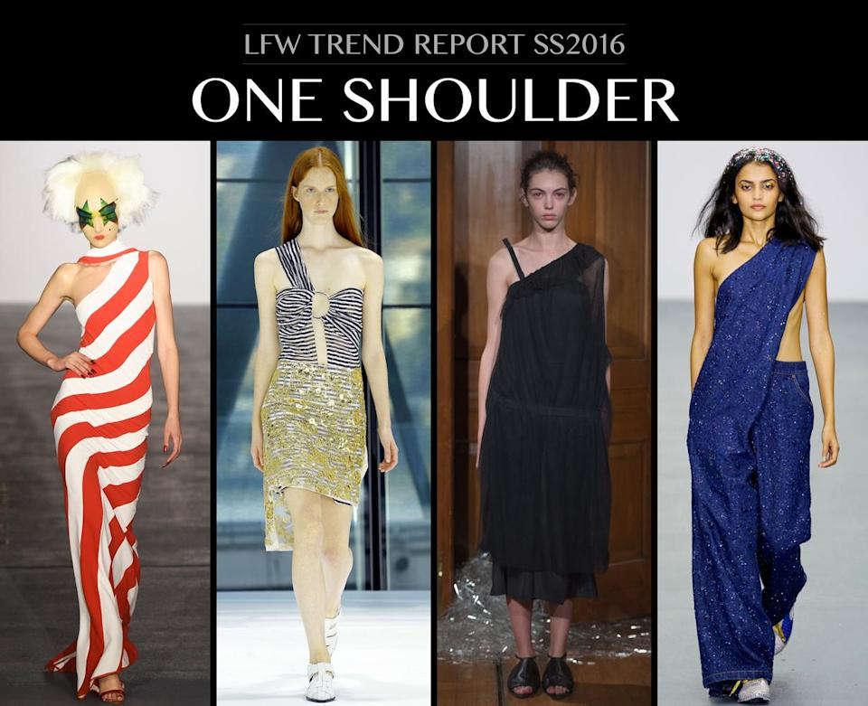<p>Donna Karan said it's the one area that never gains weight so let's keep showing those shoulders off ladies. Marques Almeida's one shoulder look had a tribal vibe while Gareth Pugh screamed 70s disco! Photo: IMAXtree</p>