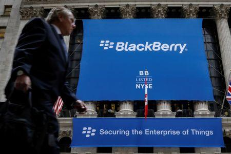 FILE PHOTO - A banner for BlackBerry Ltd hangs to celebrate the company's transfer trading to the New York Stock Exchange (NYSE) in New York, U.S., October 16, 2017. REUTERS/Brendan McDermid
