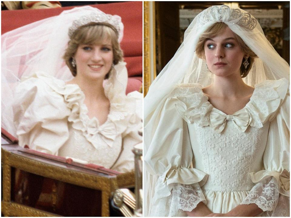 Princess Diana and Emma Corrin (R/ NetfliXEX)