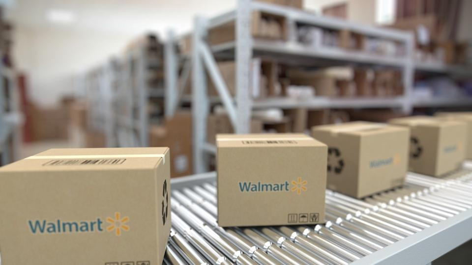 walmart boxes on a conveyor belt