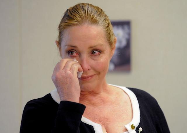 Debra Tate, sister of actress Sharon Tate, reacts after convicted mass murderer Charles Manson was denied parole at his 12th parole hearing in 2012.