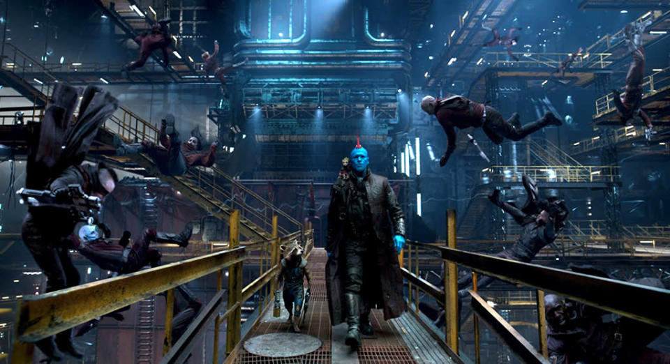 <p>This still is from an extended scene shown at Comic-Con, in which Yondu Udonta (Michael Rooker) and Rocket manage to escape from the Ravagers with (despite?) the help of Baby Groot. (Photo: Marvel) </p>