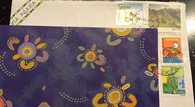 This letter was posted from Brazil and included a card with Australian aboriginal art. Source: Facebook.