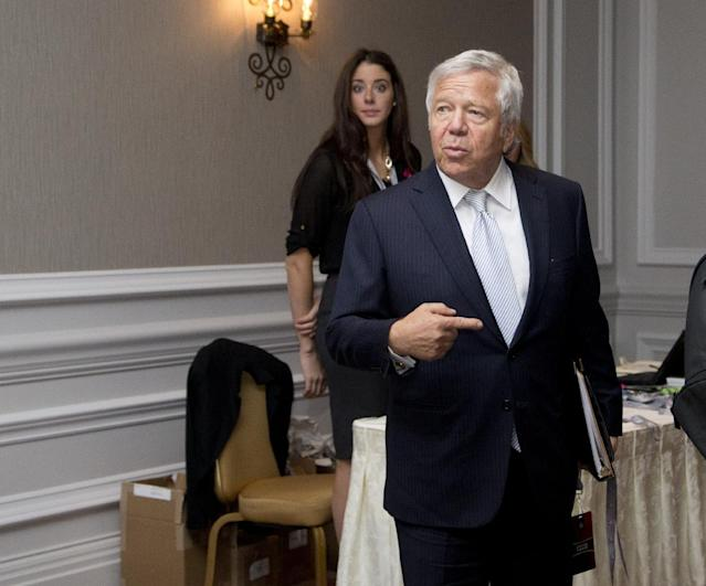 New England Patriots football team owner Robert Kraft arrives for the NFL owners fall meeting in Washington, Tuesday, Oct. 8, 2013. (AP Photo/Manuel Balce Ceneta)